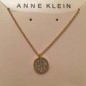 Anne Klein Circle Rhinestone Gold Pendant Necklace